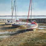 Low Tide – Hampshire Coast – Boats at Titchfield Haven, Hill Head – Hampshire Art Gallery – Gosport Artist David Whitson