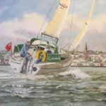 Isle of Wight Art Gallery – Yacht Grimaud sailing off Ryde – Oil Painting & Prints by Gosporth Hampshire Artist David Whitson