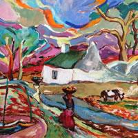 African Village Scene - Oil Painting by Surrey Artist and Art Tutor Hildegarde Reid
