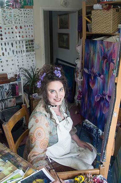 West Sussex Art Tutor Claire Harrison in her art studio