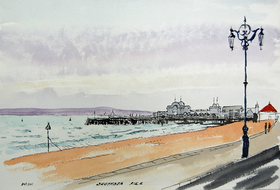 South Parade Pier Southsea Portsmouth Painting - Hampshire Art Gallery