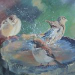 Birdbath – Splosh  – Hampshire Artists Gallery – Prints and Cards available – Southampton Art Society and Romsey Art Group member Ruth Lewis