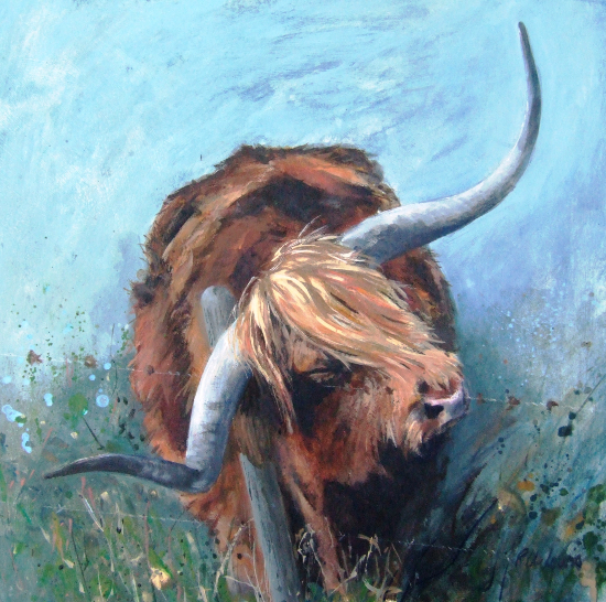 Bull - Best In Show - Acrylic - Hampshire Artists Gallery - Prints and Cards available - Southampton Art Society, Chandlers Ford Art Group and Romsey Art Group member Ruth L