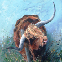 Bull - Itchy Scratchy - Hampshire Artists Gallery - Prints and Cards available - Southampton Art Society, Chandlers Ford Art Group and Romsey Art Group member Ruth Lewis