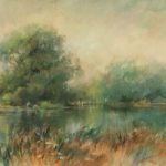 River Test, Hampshire – Chilbolton Common Landscape Painting – Wendy Jelbert Art Gallery