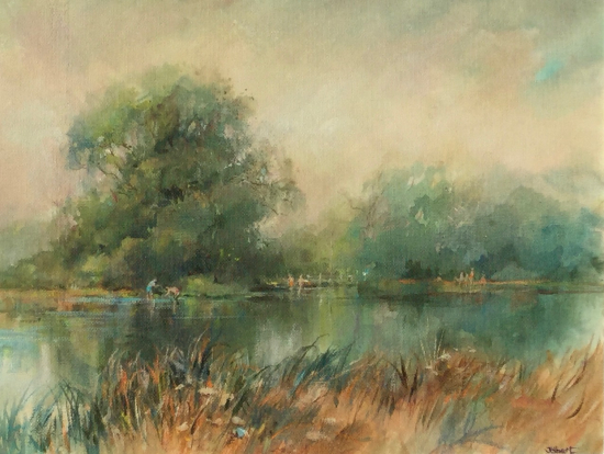 Chilbolton Common on River Test, Hampshire - Landscape Painting - Wendy Jelbert Gallery