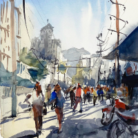Emsworth Hampshire Artist and Art Tutor Nic Cowper – Cityscape