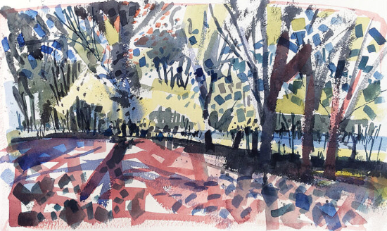 Contemporary Art - May Trees 2 - Hampshire Art Gallery - Emsworth Landscape Artist Nic Cowper