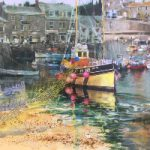 Cornish Harbour – Moored Fishing Boat – Romsey Hampshire Artist and Art Tutor Wendy Jelbert