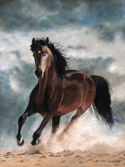 Galloping Horse - Storm - Pastel Painting by Ringwood Art Society member Pauline Scott
