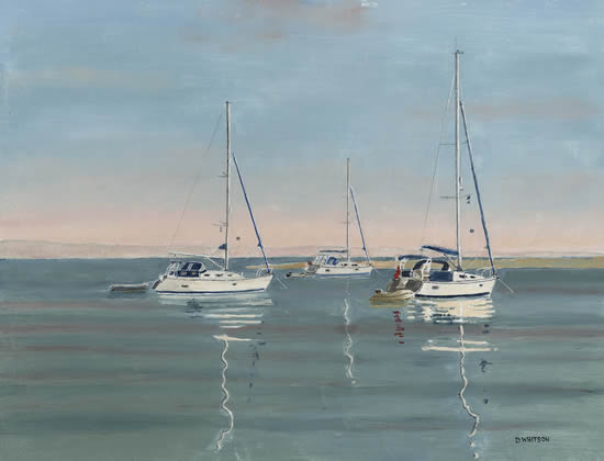 Hampshire Art Gallery - Anchored Yachts in Langstone Harbour - Oil Painting