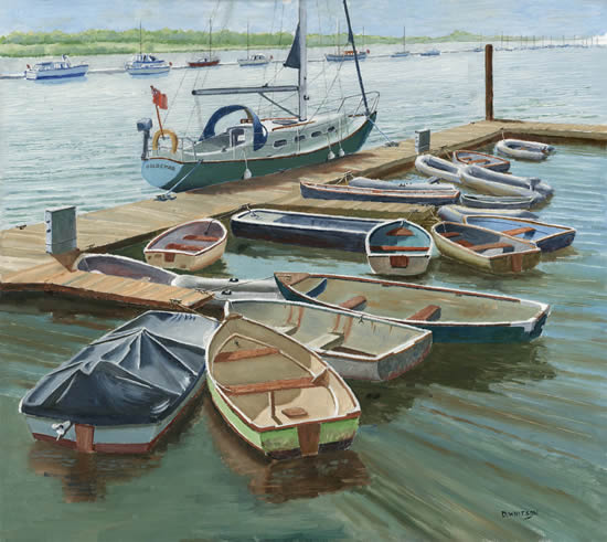 Hampshire Art Gallery - Boats at the Folly Inn Isle of Wight