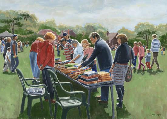 Hampshire Art Gallery -Bookstall at Littleton Fair - Oil Painting