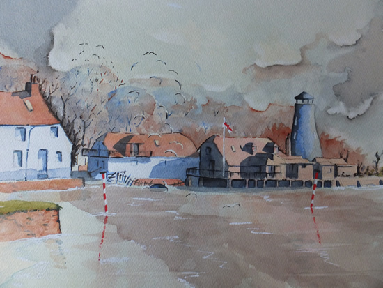 Hampshire Art Gallery - Langstone Mill near Hayling Island Watercolour Painting