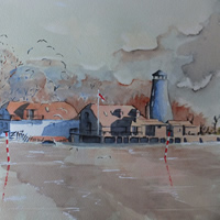 Hampshire Art Gallery – Langstone Mill near Hayling Island Watercolour Painting