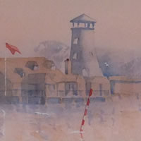 Hampshire Art Gallery – Langstone Morning Mist Watercolour Painting