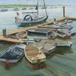 Isle of Wight Art Gallery – Boats at the Folly Inn – Oil Painting