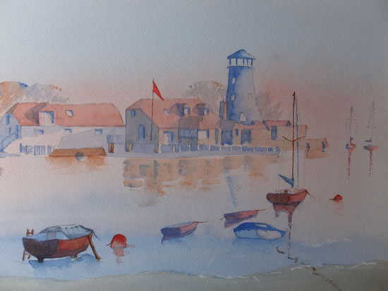 Langstone Mill - Hampshire Art Gallery Watercolour Painting by Artist David Harmer