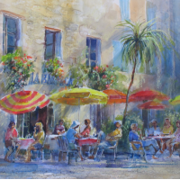 Pavement Cafe Colourful Umbrellas and Palm Tree – Romsey Hampshire Artist Wendy Jelbert