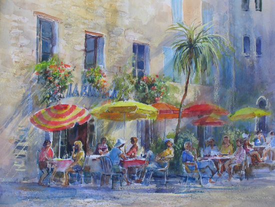 Pavement Cafe Colourful Umbrellas and Palm Tree - Romsey Artist Wendy Jelbert - Hampshire Gallery