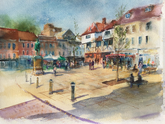 Romsey Hampshire Market Square - Watercolour - Professional Artist, Lecturer and Teacher Wendy Jelbert