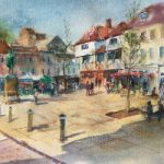 Romsey Hampshire Market Square – Watercolour – Wendy Jelbert Art Gallery