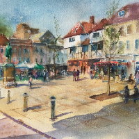 Romsey Hampshire Market Square - Watercolour - Wendy Jelbert Art Gallery