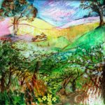 Spring Hedgerow – Rabbits in Field – Hampshire Artists Gallery – Prints and Cards available – Chandlers Ford Art Group