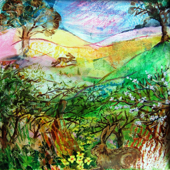 Spring Hedgerow - Rabbits in Field - Hampshire Artists Gallery - Prints and Cards available - Chandlers Ford Art Group and Romsey Art Group member Ruth Lewis