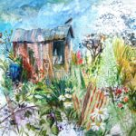 Allotment Painting – Hampshire Artists Gallery – Prints and Cards available – Southampton Art Society and Romsey Art Group member Ruth Lewis