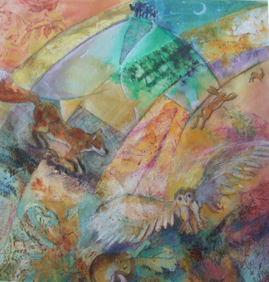 Twilife - Wildlife at night in countryside - Fox, Rabbits, Owl, Dormouse - Hampshire Artists Gallery - Prints and Cards available - Romsey Art Group member Ruth Lew