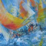 Yacht Race – Romsey Hampshire Artist and Art Tutor Wendy Jelbert – Coastal Art