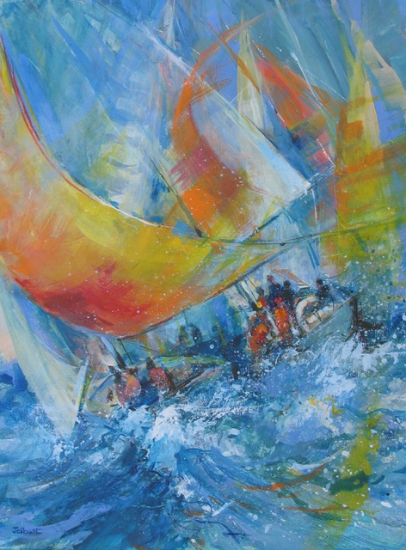 Yacht Race - Romsey Hampshire Artist Wendy Jelbert Hampshire Art Gallery