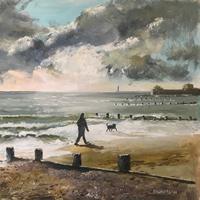 Hill Head beach Fareham – Dog Walking – Painting by Gosport Hampshire Artist David Whitson