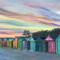 Beach Huts at Hill Head – Bursledon Art Society Hampshire Artist Jennifer Thorpe