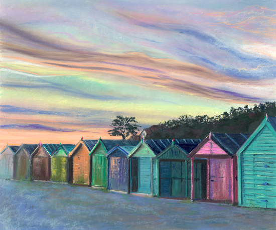 Beach Huts at Hill Head - Sunset - Bursledon Art Society Hampshire Artist Jennifer Thorpe