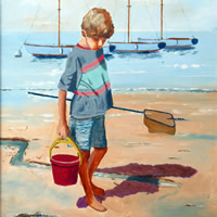 Bembridge Beach Isle Of Wight – Boy On Beach – Art Prints