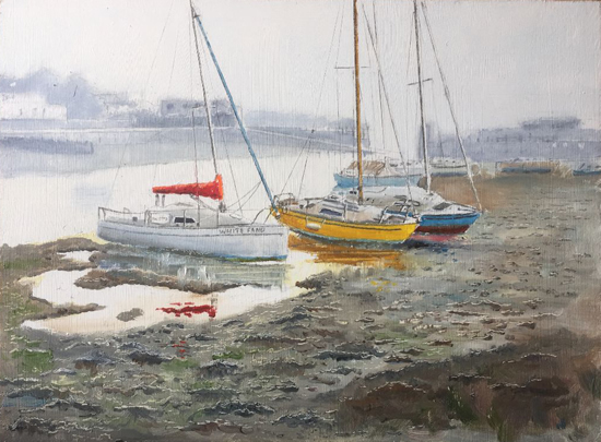 Boats at Titchfield Haven Wetland Nature Reserve Hill Head - Hampshire Art Gallery - Gosport Artist David Whitson
