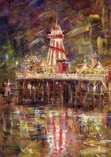 Bournemouth Pier Hampshire Helter Skelter Fairground Painting