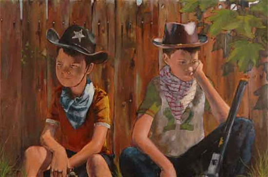Boys Playing with Guns - Too-Few Role Models - Artist William Rochfort