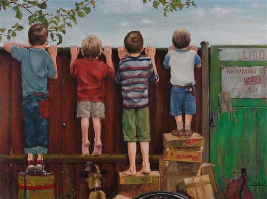 Boys looking over fence - Artist William Rochfort - Fine Art Oil Paintings and Limited Edition Prints