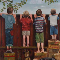 Boys looking over fence – Artist William Rochfort – Fine Art Oil Paintings and Limited Edition Prints