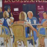 Café – Saint-Émilion, France – Oil Painting – Portsmouth Art Society Artist Mike Johnson