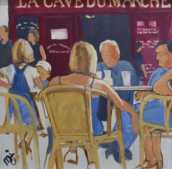 Café - Saint-Émilion, France - Oil Painting by Portsmouth Art Society Artist Mike Johnson