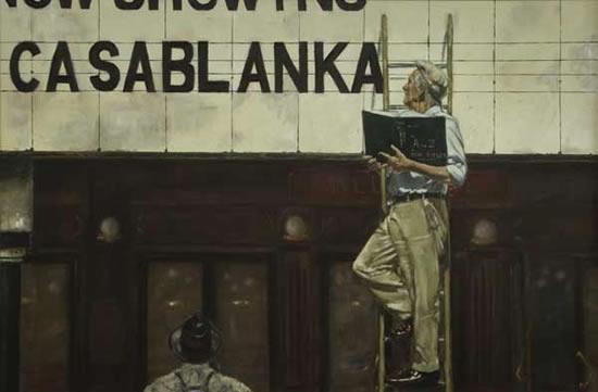 Cinema Billboard - Film Casablanca - Lymington Hampshire Artist in Oils William Rochfort