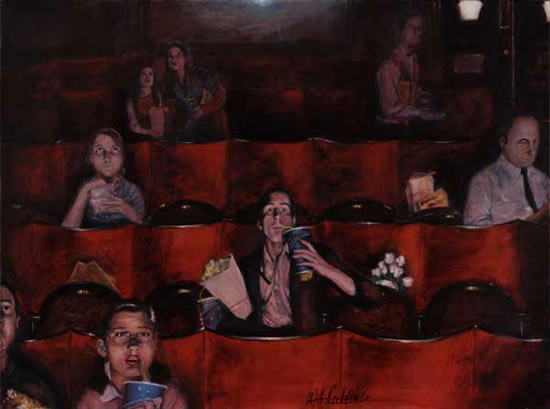 Cinema - Pictures - People Watching Film - Hampshire Artist William Rochfort