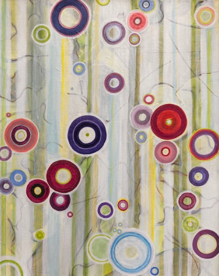 Contemporary Abstract Art - Circles and Stripes - Hampshire Artist Tessa Coe