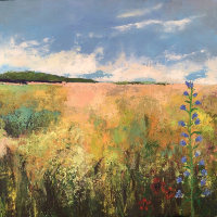 Countryside Hampshire – Landscape Painting Field and Flowers – Winchester Artist Karen Eames