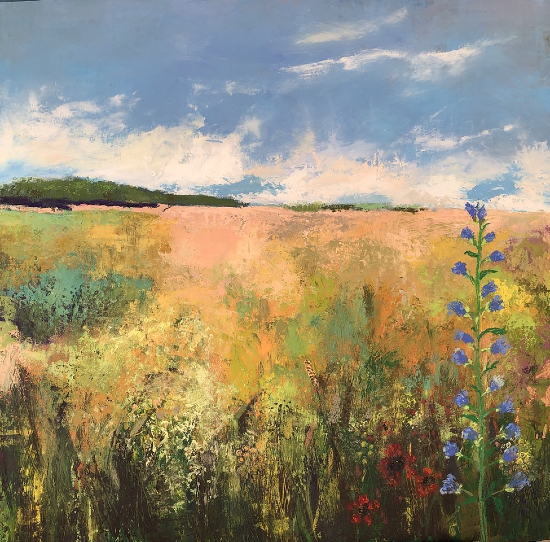 Countryside Landscape Painting - Field and Flowers - Winchester Artist Karen Eames