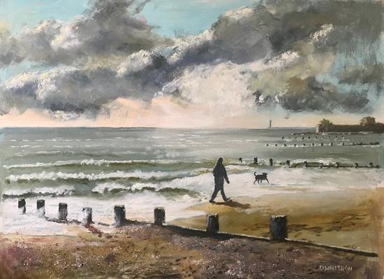 Dog Walking, Hill Head beach Fareham - Painting by Gosport Hampshire Artist David Whitson